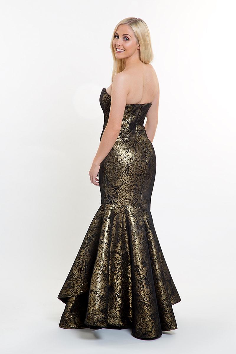 4791879c31e7 Bariano Black & Gold Strapless Fishtail Gown | Alila Boutique