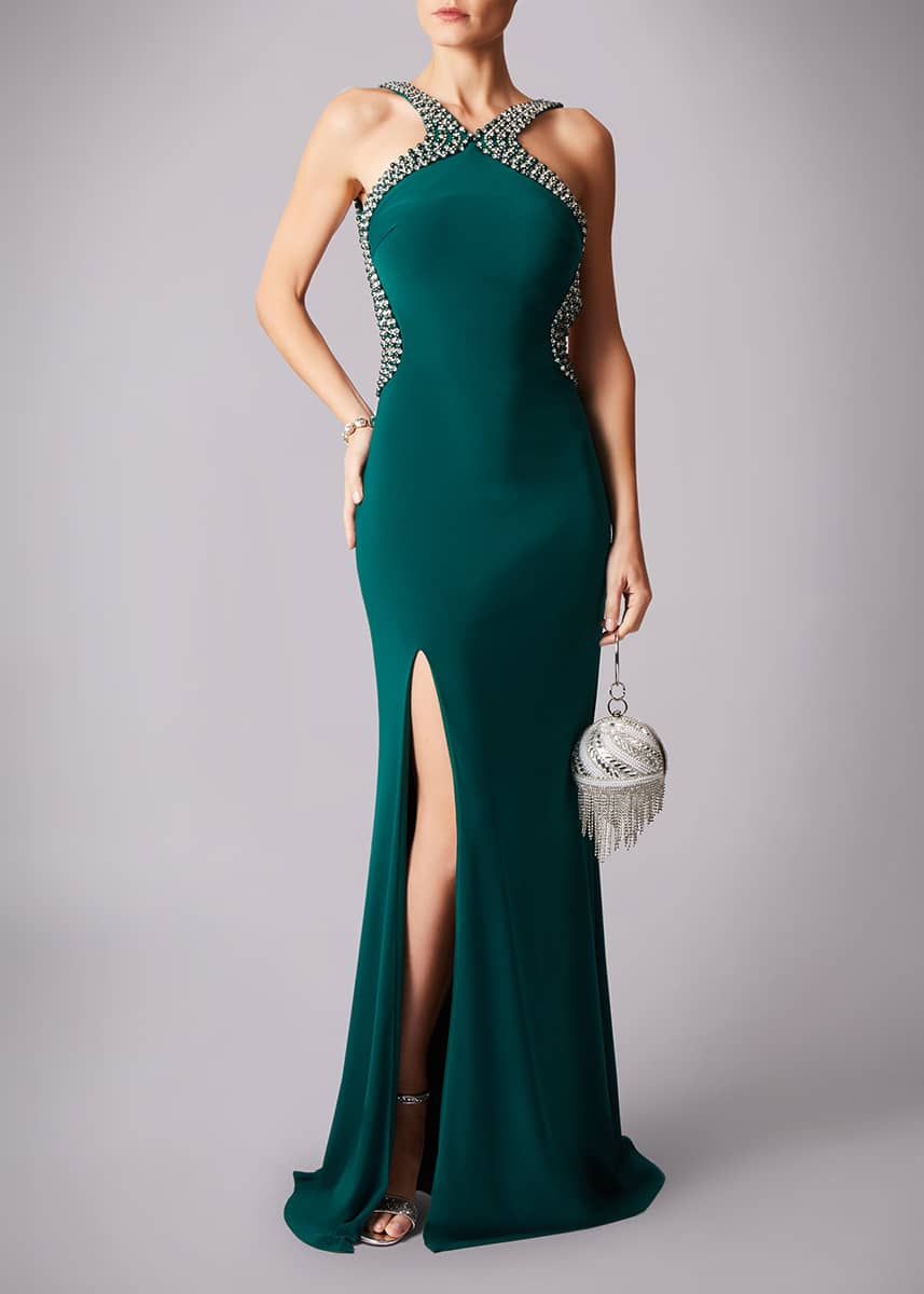 Alila-Forest-Green-Beaded-backless-debs-dress-Mascara