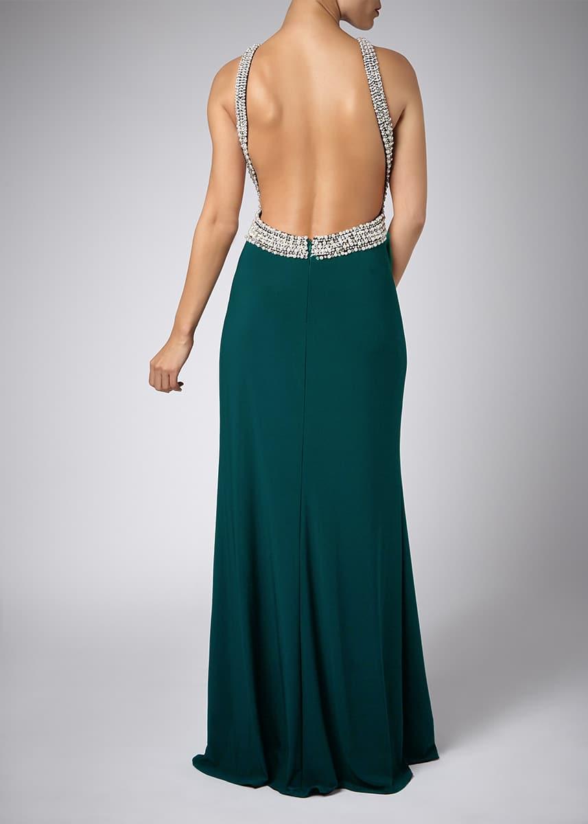 Alila-Forest-Green-Beaded-backless-slit-debs-dress-Mascara