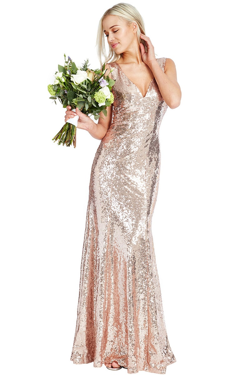 City Goddess - Champagne Sequin V Neck Gown | Alila Boutique