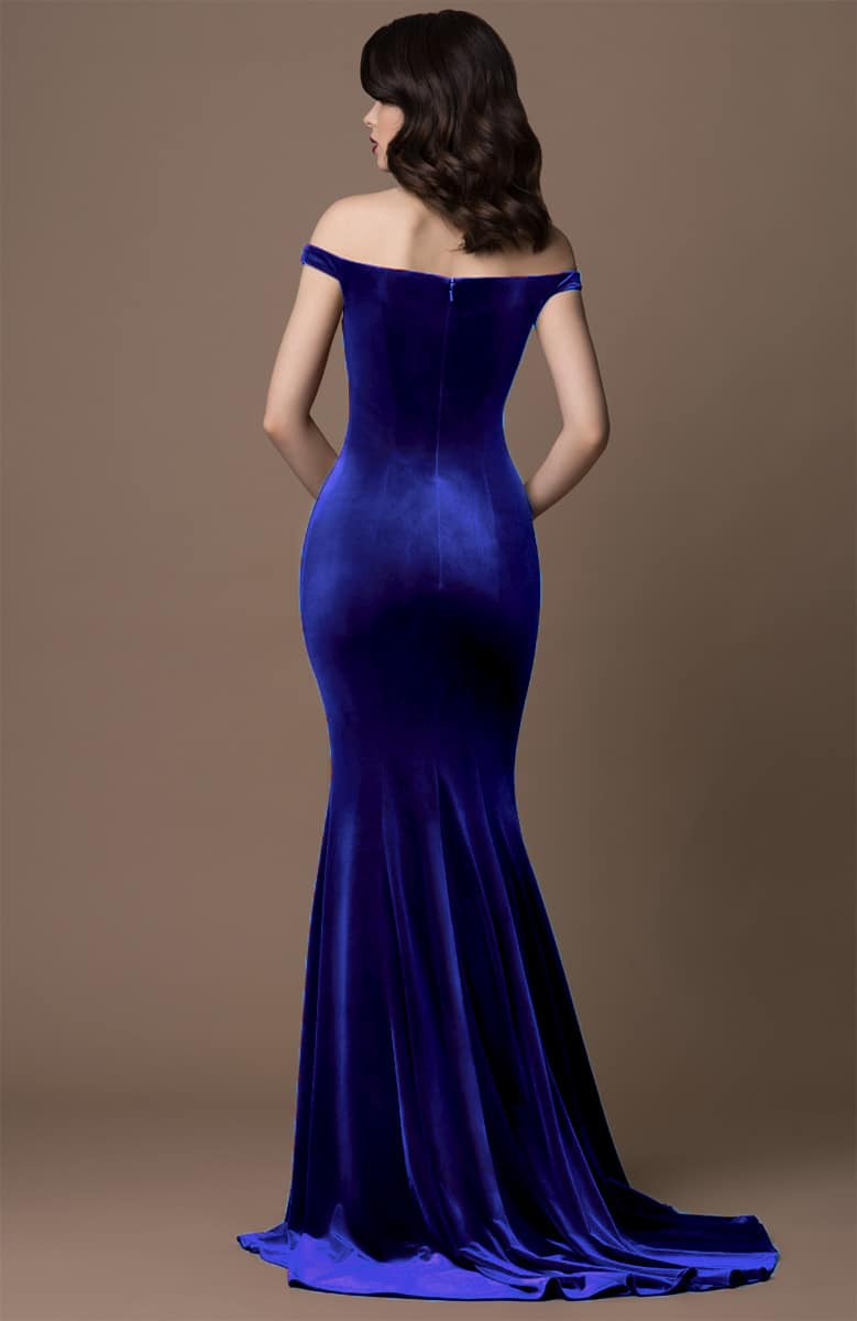 Gino-Cerrutti-Velvet-Bardot-Gown-Blue-Alila