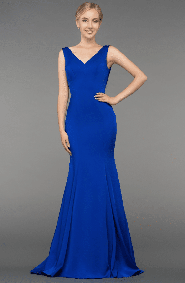 Gino Cerrutti Blue Low Back Fishtail Gown