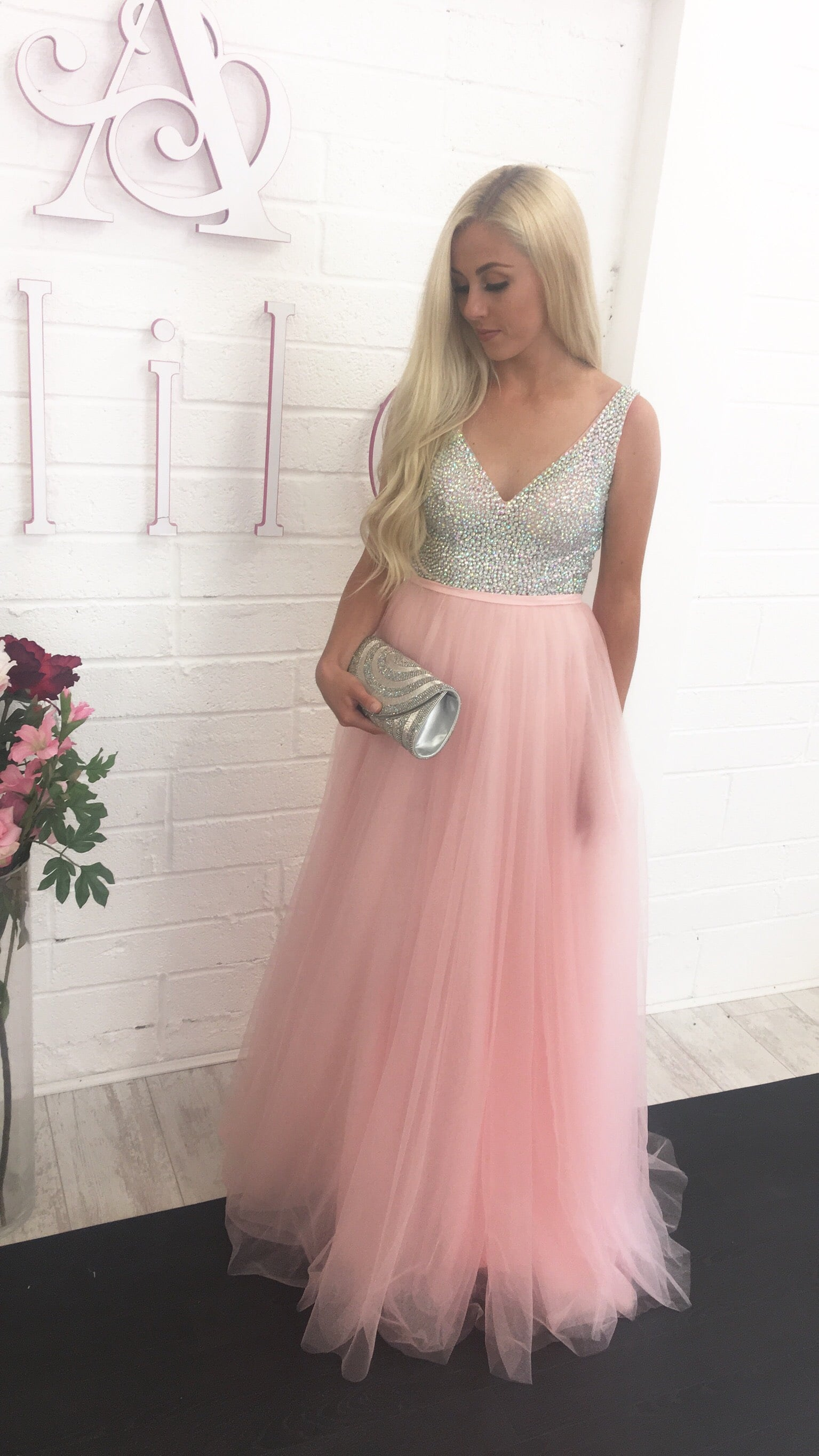 cheapest price new cheap recognized brands Gino Cerruti Pink Tulle Crystal Bodice Gown