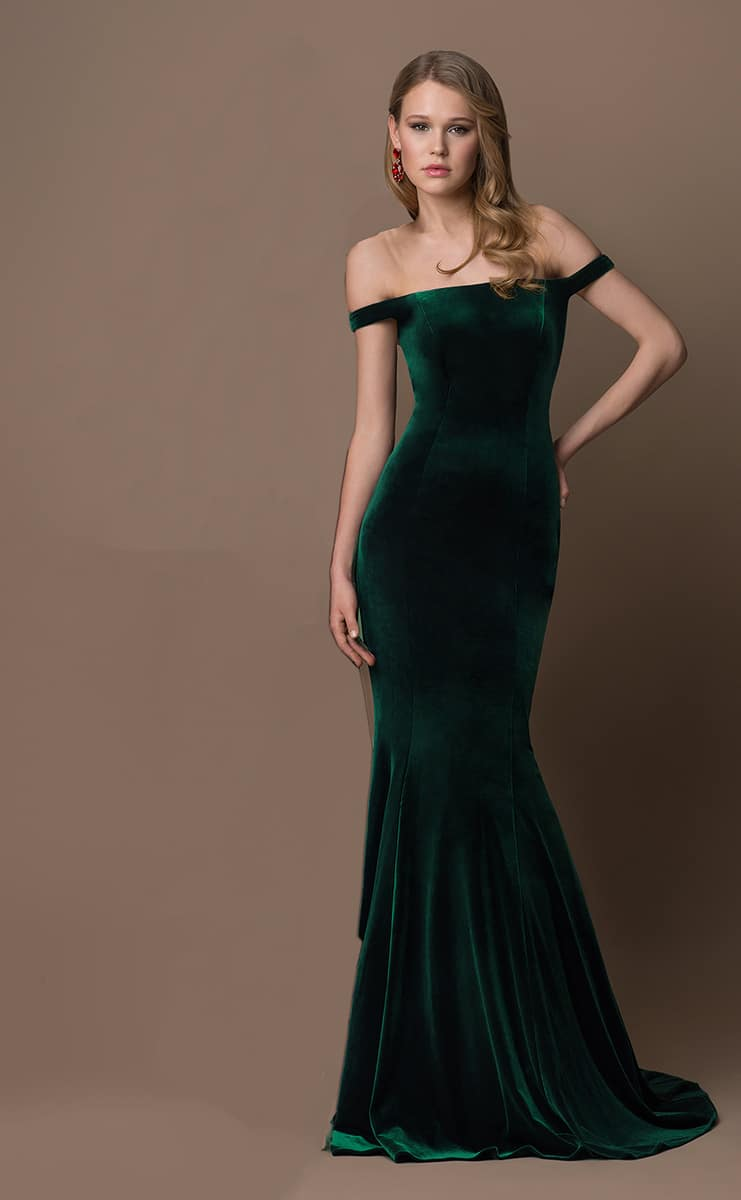 Gino-Cerutti-Green-Velvet-Fishtail-Debs-dress-Alila-boutique
