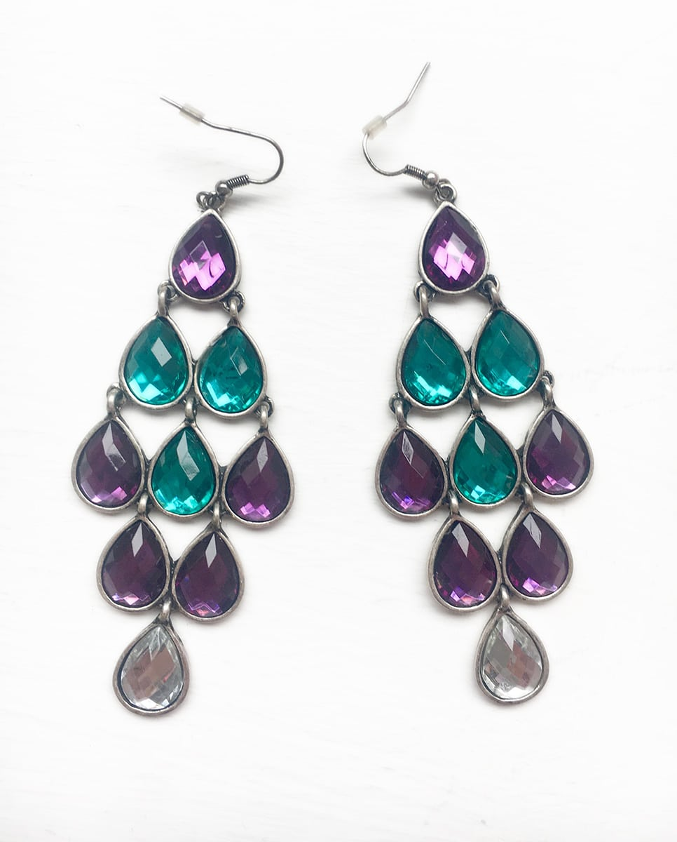 Aqua-and-purple-glass-chandelier-earrings-Alila-boutique