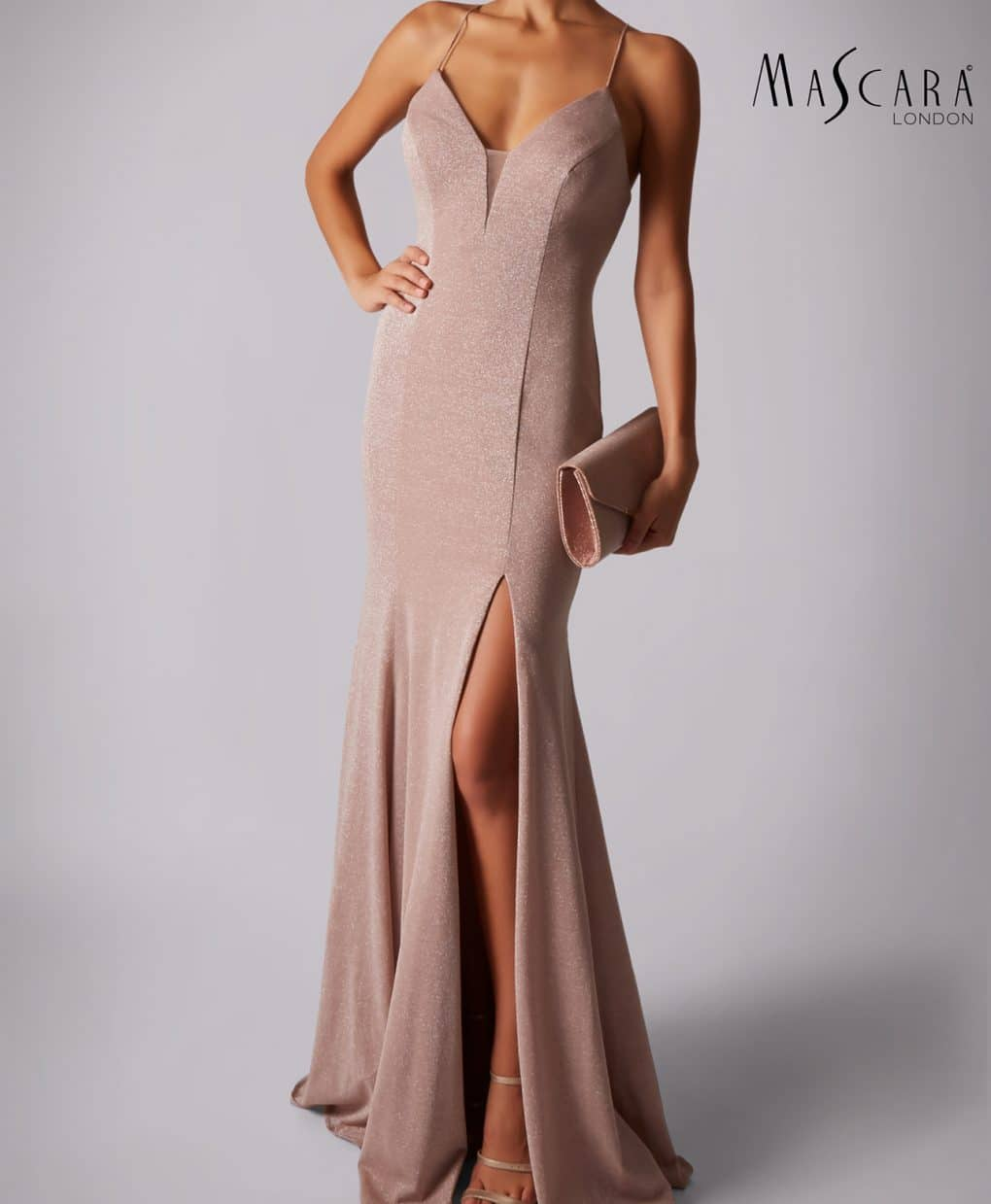 Mascara Dusty Rose Crossback V Gown