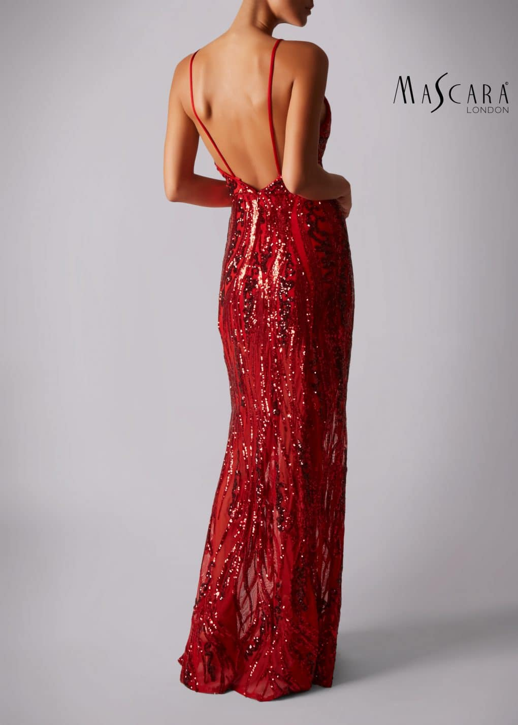 Mascara Spaghetti Sequins Red Dress