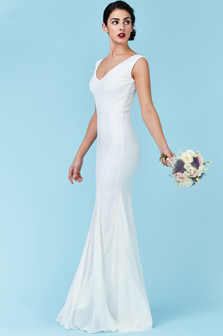 DR627W- Alila-Bridal-White-Sequin-chiffon-affordable-Bridal-gown-Dublin