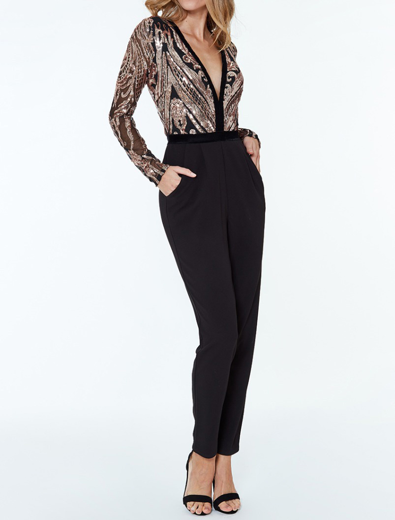 Alila-Champagne-Black-Jumpsuit-dancing-with-the-stars-Jennifer-Zamparelli