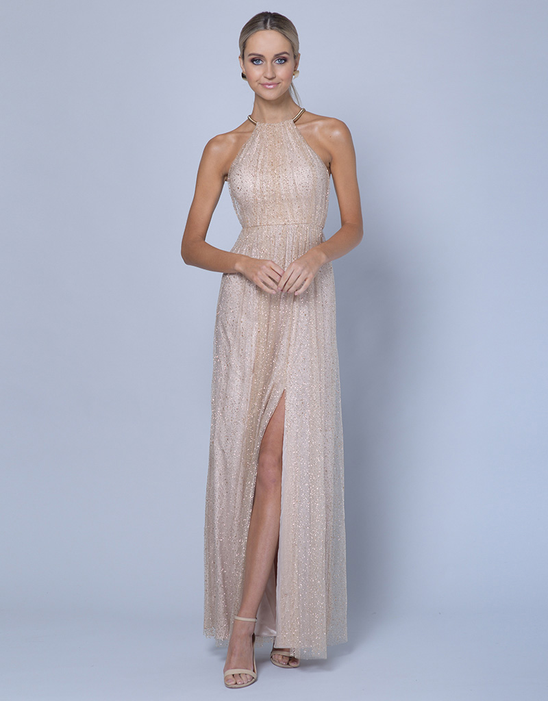 B35D08-HL-Bariano-Champagne-Sparkle-High-Neck-gown-Alila