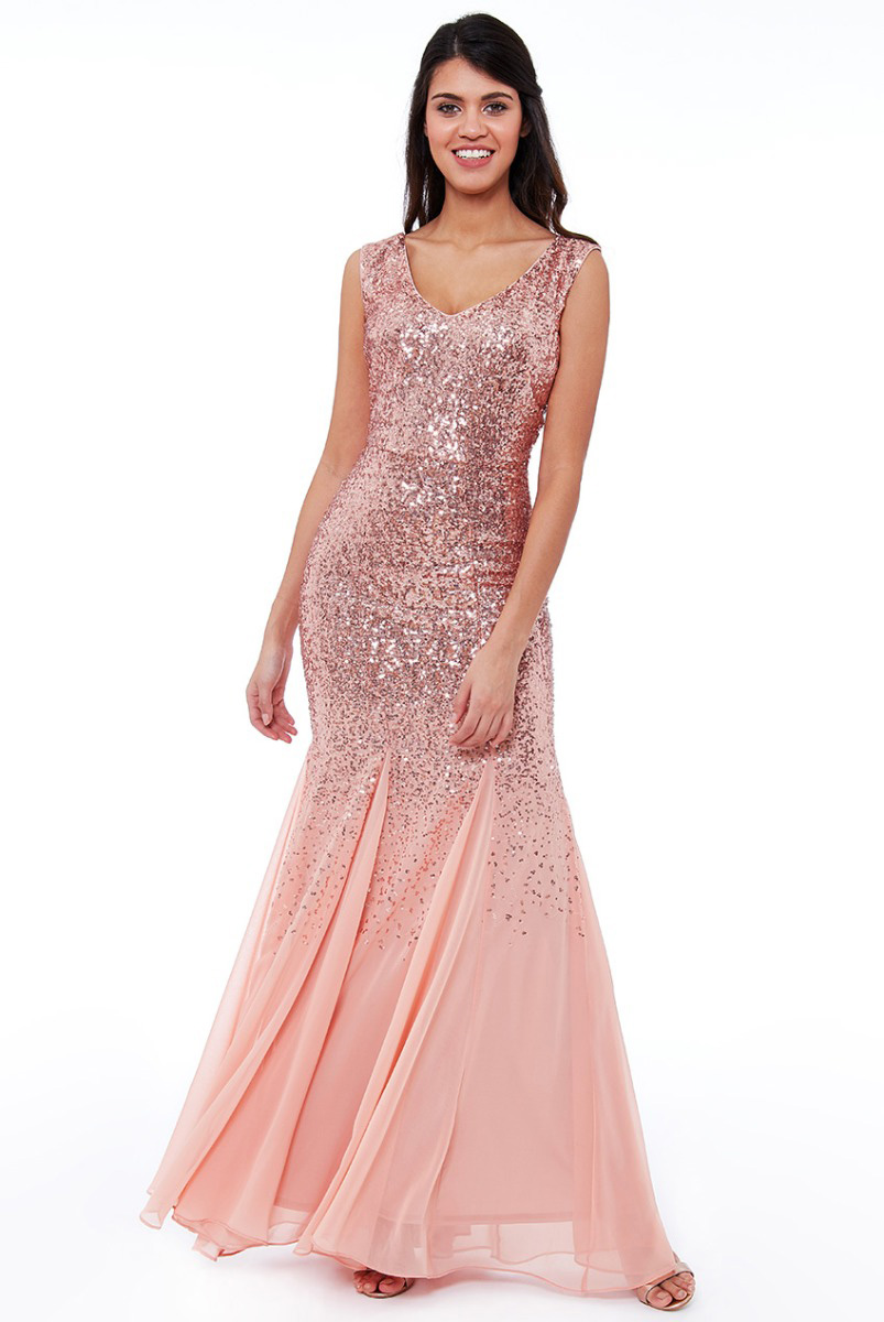 DR627-Rose-Gold-sequin-and-chiffon-debs-bridesmaids-dress-Alila-boutique-bridal-Dublin