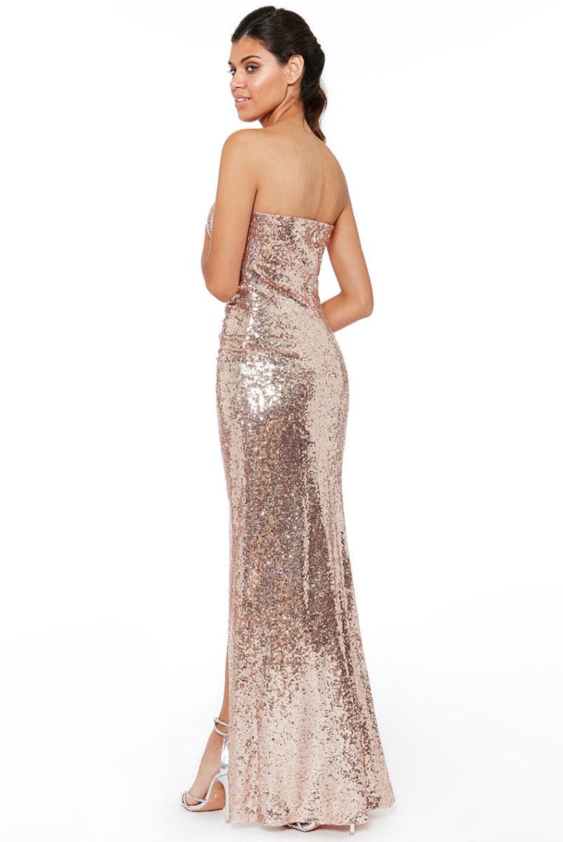 Champagne-Strapless-sequin-dress-slit-Alila
