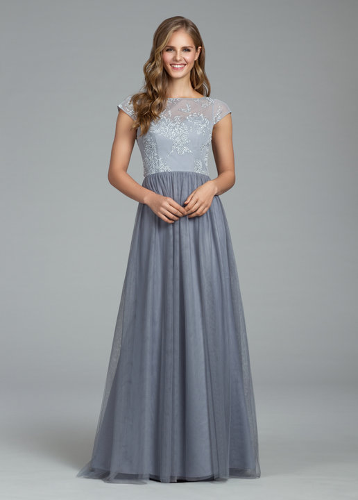 Hayley Paige Pewter Tulle and lace gown 5805