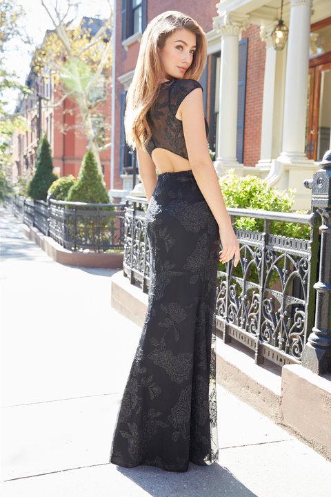 Hayley Paige Black Caviar A Line Gown Bateau neckline with cap sleeve