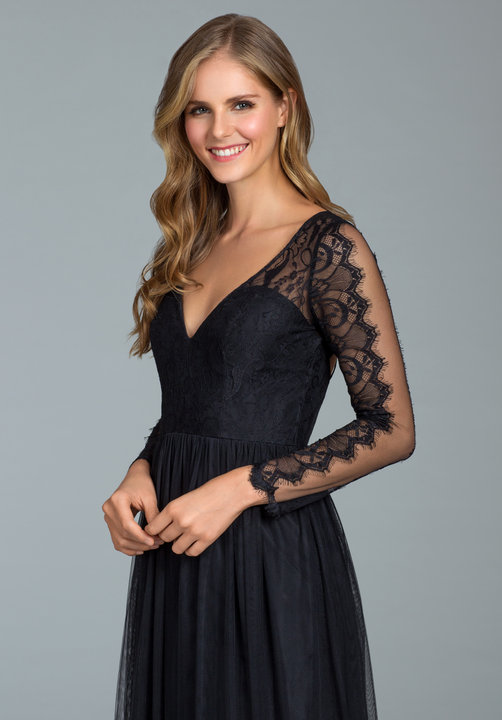 Hayley Paige Black English Net and Hayley Paige 5819 Black Lace Long Sleeve Gown