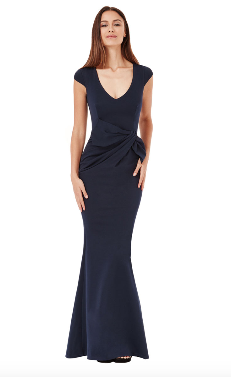 Navy-Jersey-Cap-Sleeve-Bridesmaids-dress-Alila-boutique