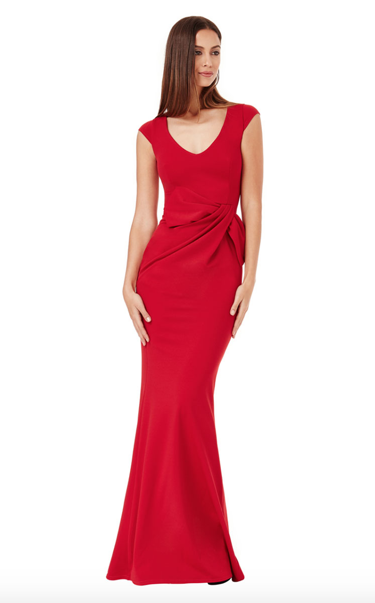 Red-Jersey-Cap-Sleeve-Bridesmaids-dress-Alila-boutique