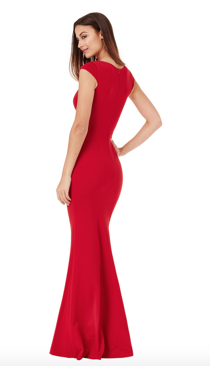Red-Jersey-Cap-Sleeve-Bridesmaid-dress-Alila