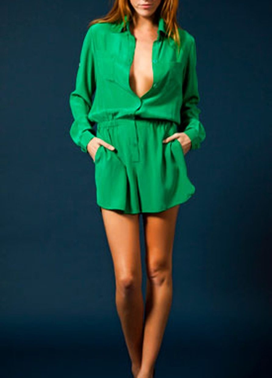 Jay Godfrey Emerald Green Shirt Playsuit