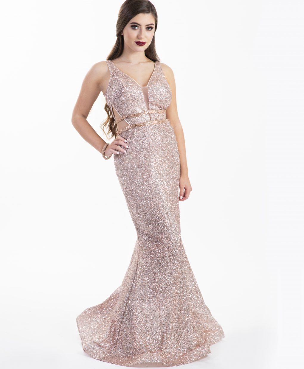 Chloe Ormond Rose Gold Glitter Cut Out Gown Alila