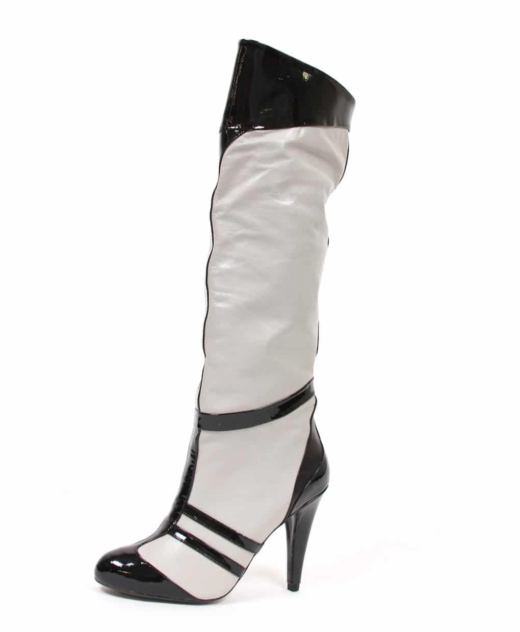 Grey-and-Black-patent-stripe-knee-high-boot-Elena-Perseil-Alila