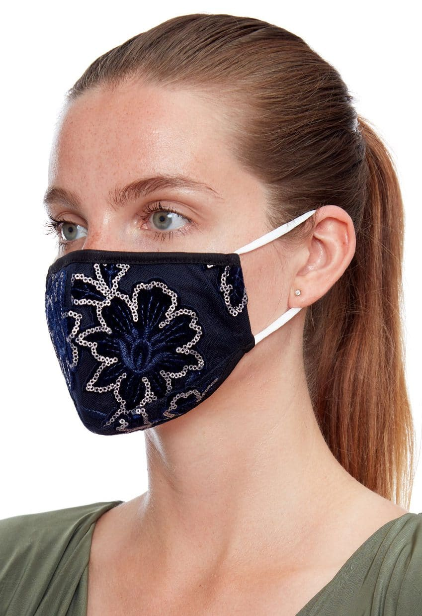 Navy-floral-sequin-face-mask-ladies-face-covering Alila
