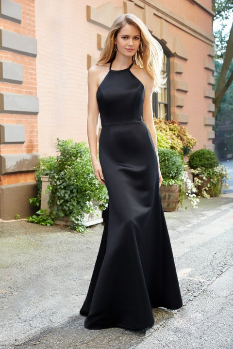 Hayley Paige Black Racer-neck-T-back-Satin-Bridesmaids Dress Alila boutique
