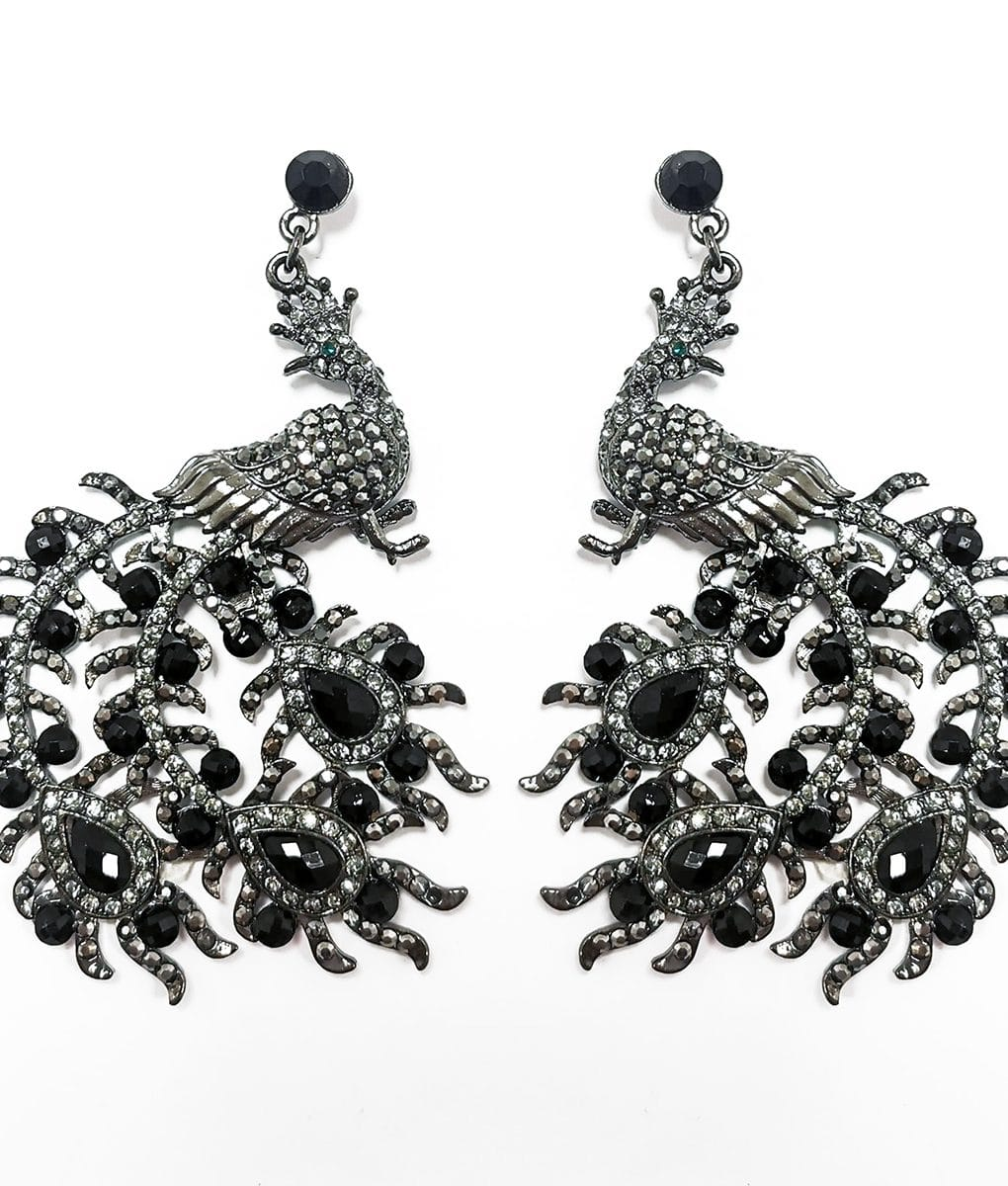 Grey-and-black-Peacock-Crystal-Earrings-Alila-Irish