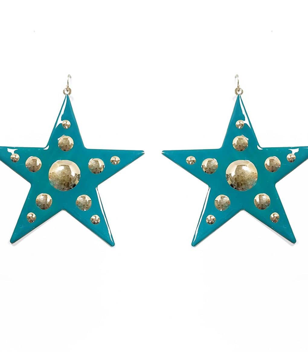 Teal-and-gold-metal-star-earrings-Alila-Ireland